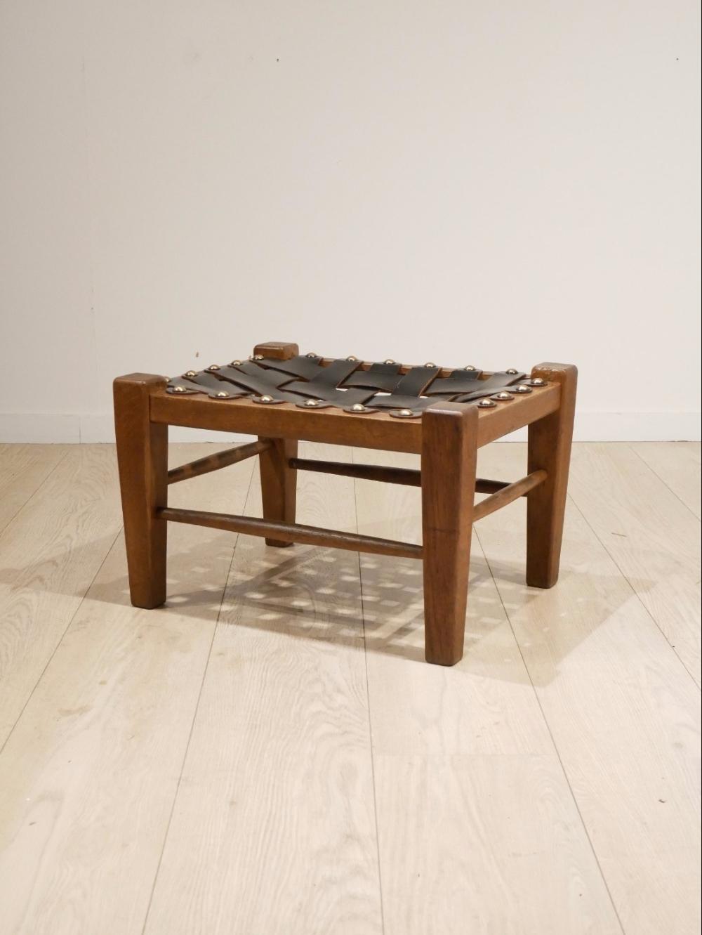 Marvelous Sling Leather Oak Ottoman 1960S Studio 42 Spiritservingveterans Wood Chair Design Ideas Spiritservingveteransorg